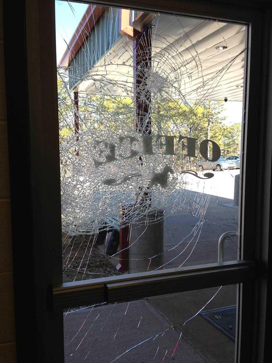 Shattered door at Eureka Springs Elementary School.