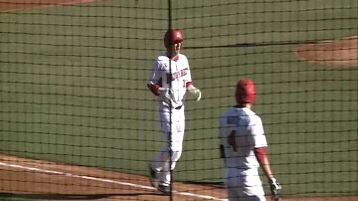 Jake Wise reaches home plate after hitting a home run vs. Evansville