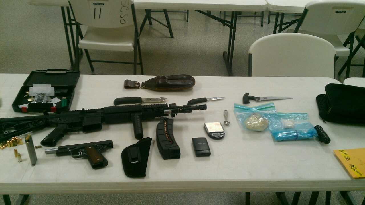 Guns and drugs seized from car at Lavaca Elementary School