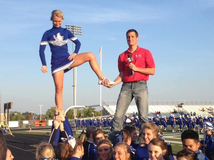 One of the favorite parts of my job is to get out and have fun on live shots.  Friday night football has plenty of energy.  Sometimes the cheerleaders try to get me to perform.  They are brave souls!