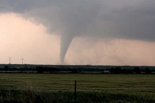 This tornado over the plains was one of many spawned during a massive outbreak stretching from eastern Colorado to Oklahoma on May 23-May 24.