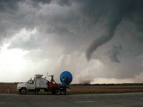 This is a photo of the Doppler on Wheels (owned by the Center for Severe Weather Research) was taken on May 24, 2004.