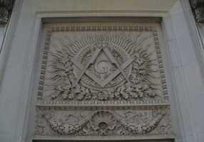 2. MasonMasonic temple freize in Little Rock.