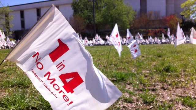 Students placed more than 3,000 flags near the student union to bring awareness to sexual assault on college campuses