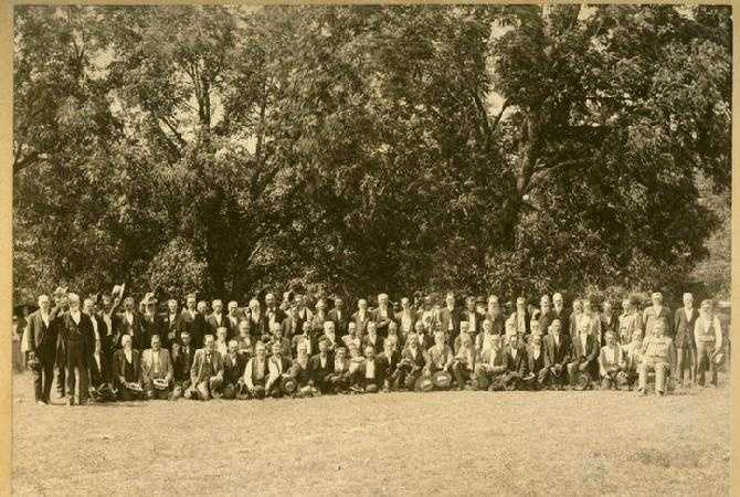 The Battle of Cane Hill on November 28, 1862, was a prelude to the Battle of Prairie Grove more than a week later.  The Confederates lost more men, but scored a tactical victory.  This is a picture of the survivors of the Confederate 34th Arkansas Infantry Regiment at a reunion near the turn of the century.