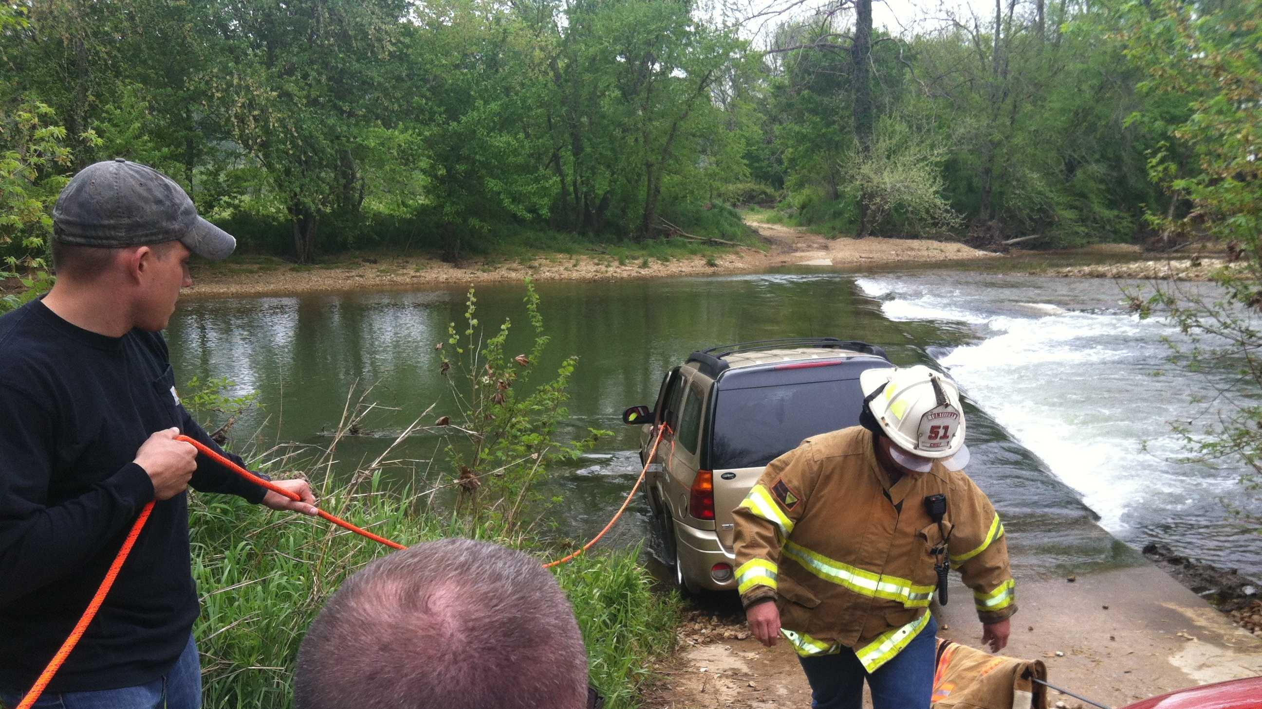 Emergency crews respond to water rescue on bridge
