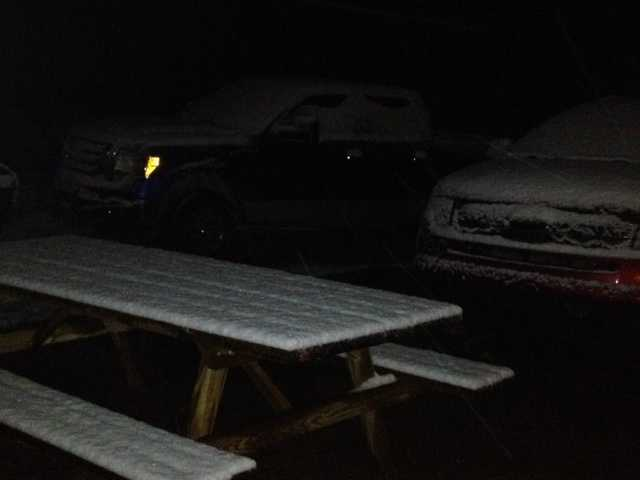 Snow-covered picnic table in Springtown between XNA and Gentry.