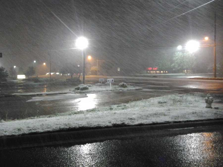 Snow coming down in Fayetteville.