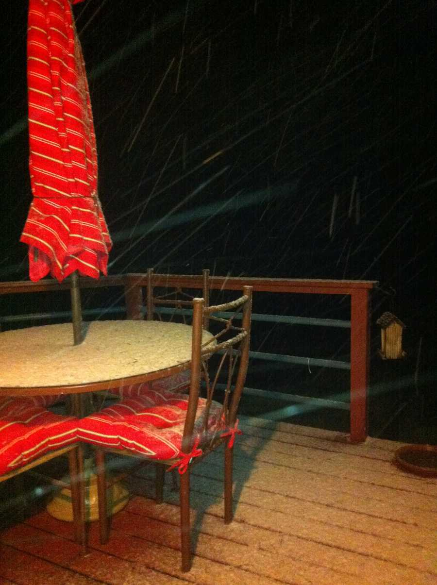 Snow-covered deck in Bella Vista.