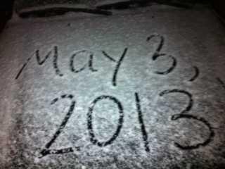A snowy windshield in Springdale.