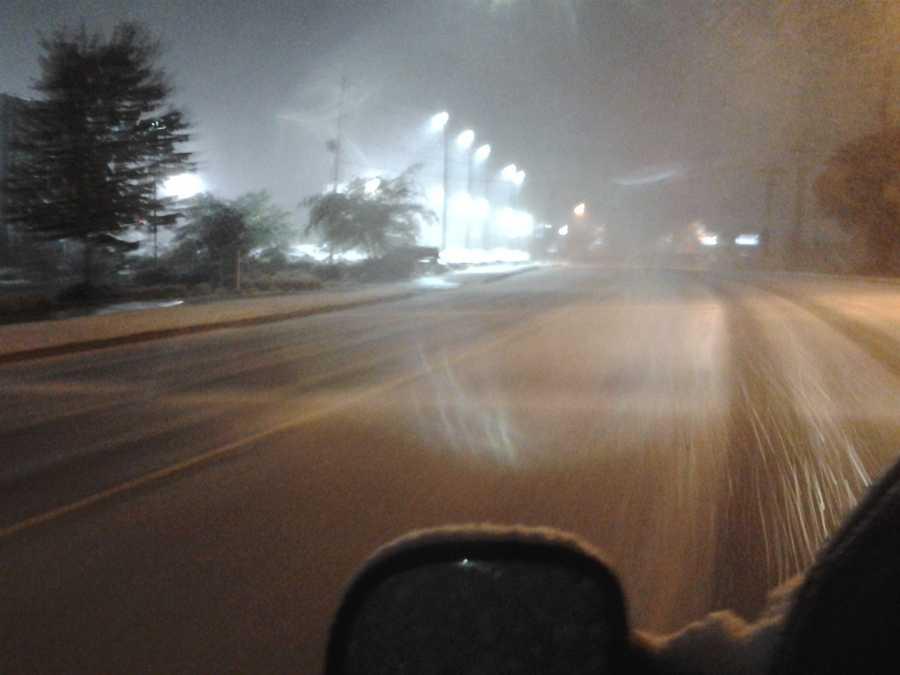 Snowy roads in Fayetteville.