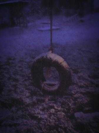 Snowy tire swing in Garfield.