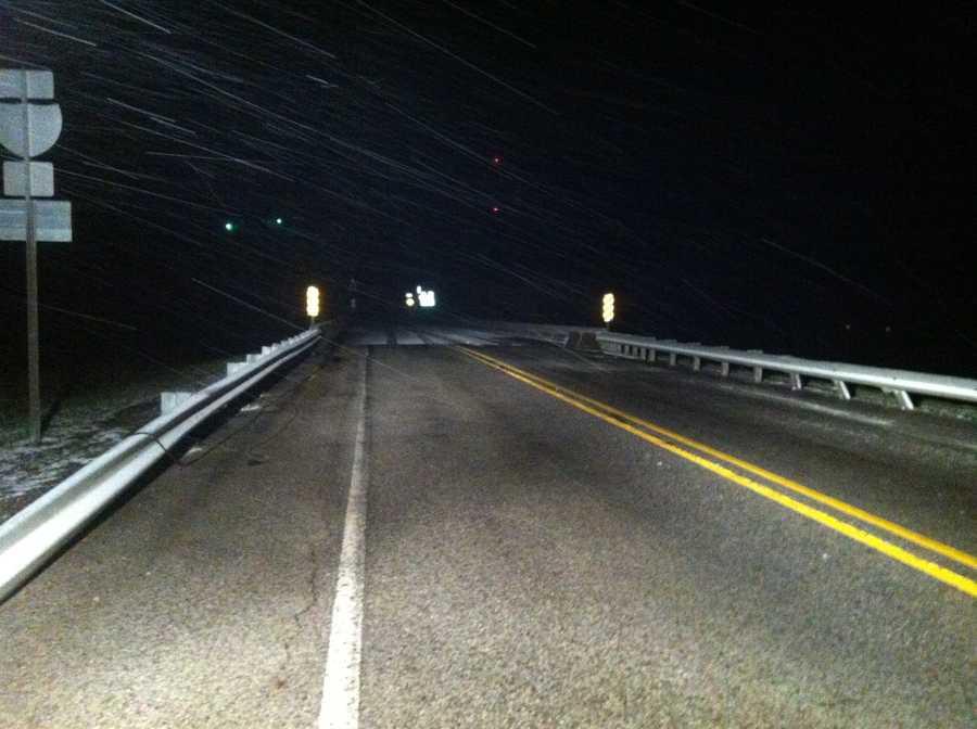 A snowy bridge in Winslow.