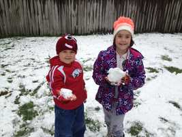 A May snowball fight in Rogers.