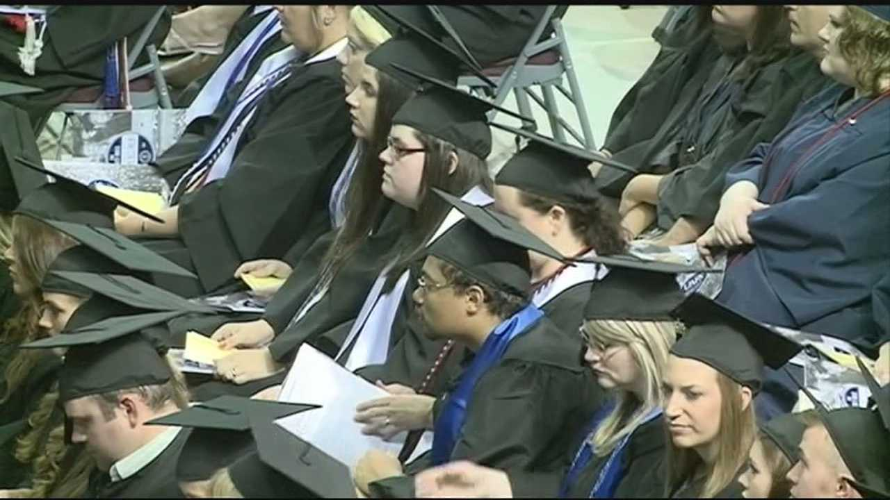 Graduates of the University of Arkansas Fort Smith get their diplomas and start the job searching process.