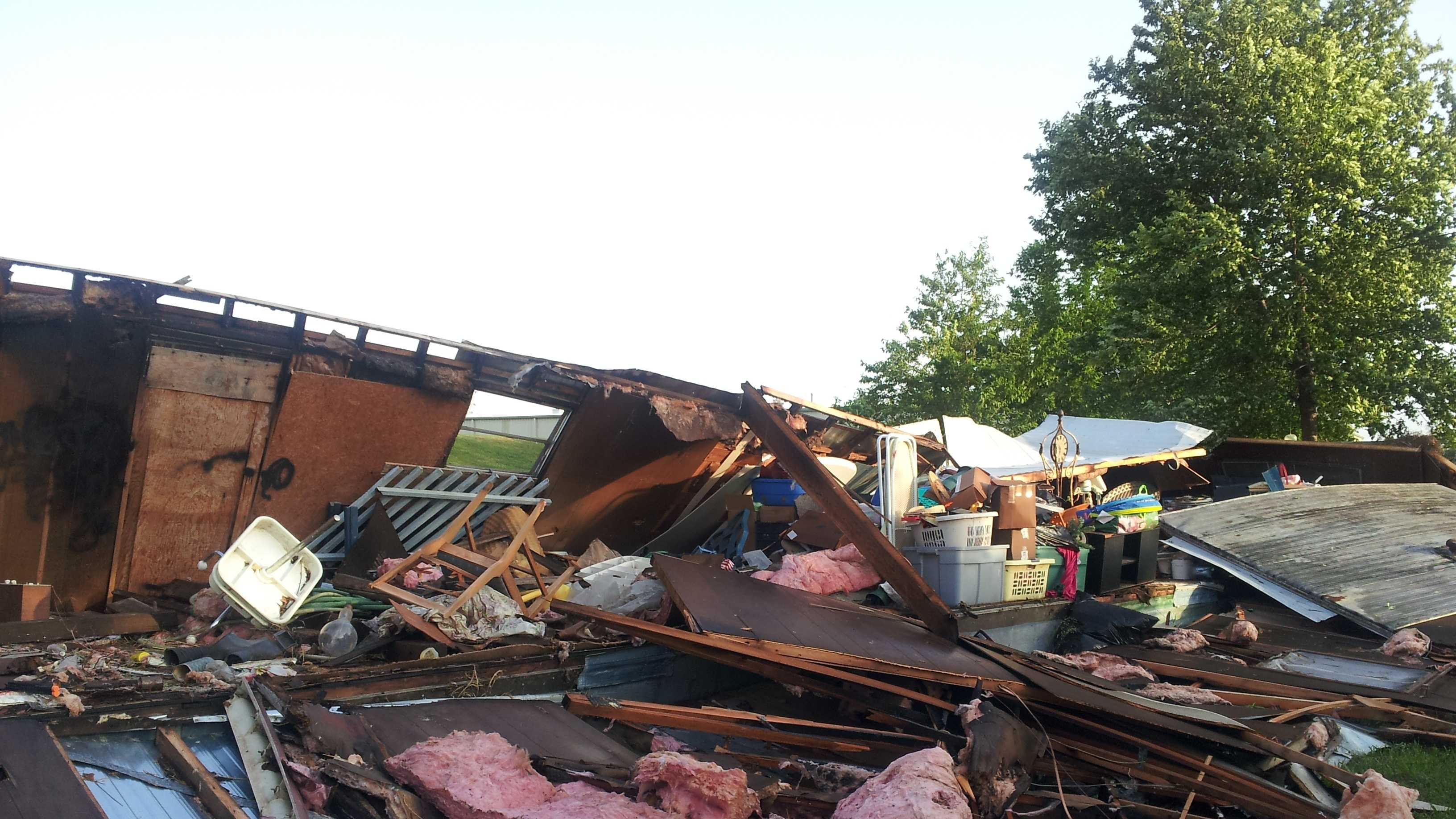 A storage shed in Siloam Springs was destroyed by high winds.