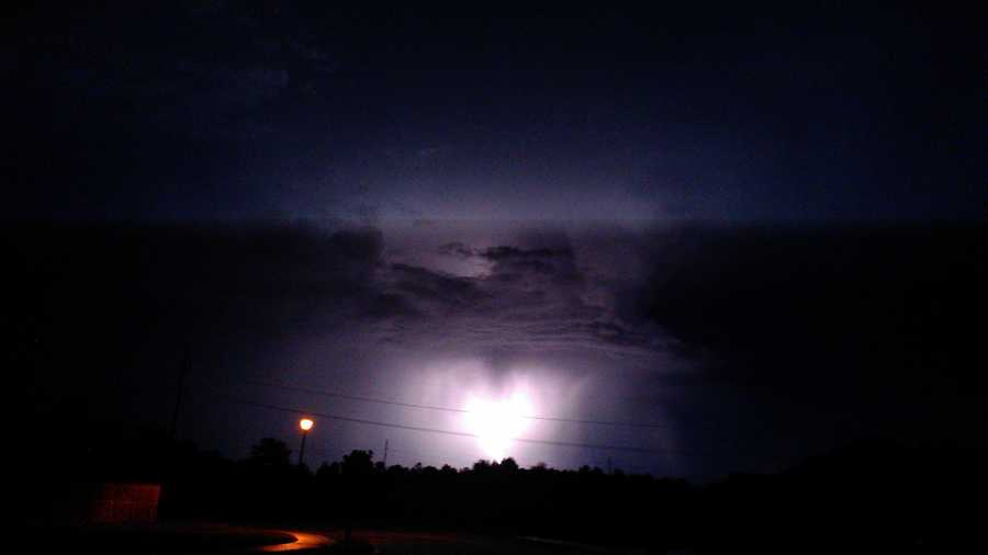 Lightning and dark clouds in Springdale.