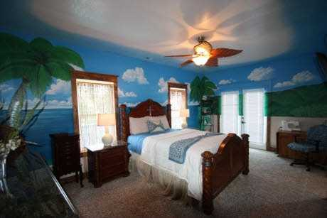 A fun child's room, the beach scene bedroom is brought to life with natural light as well.