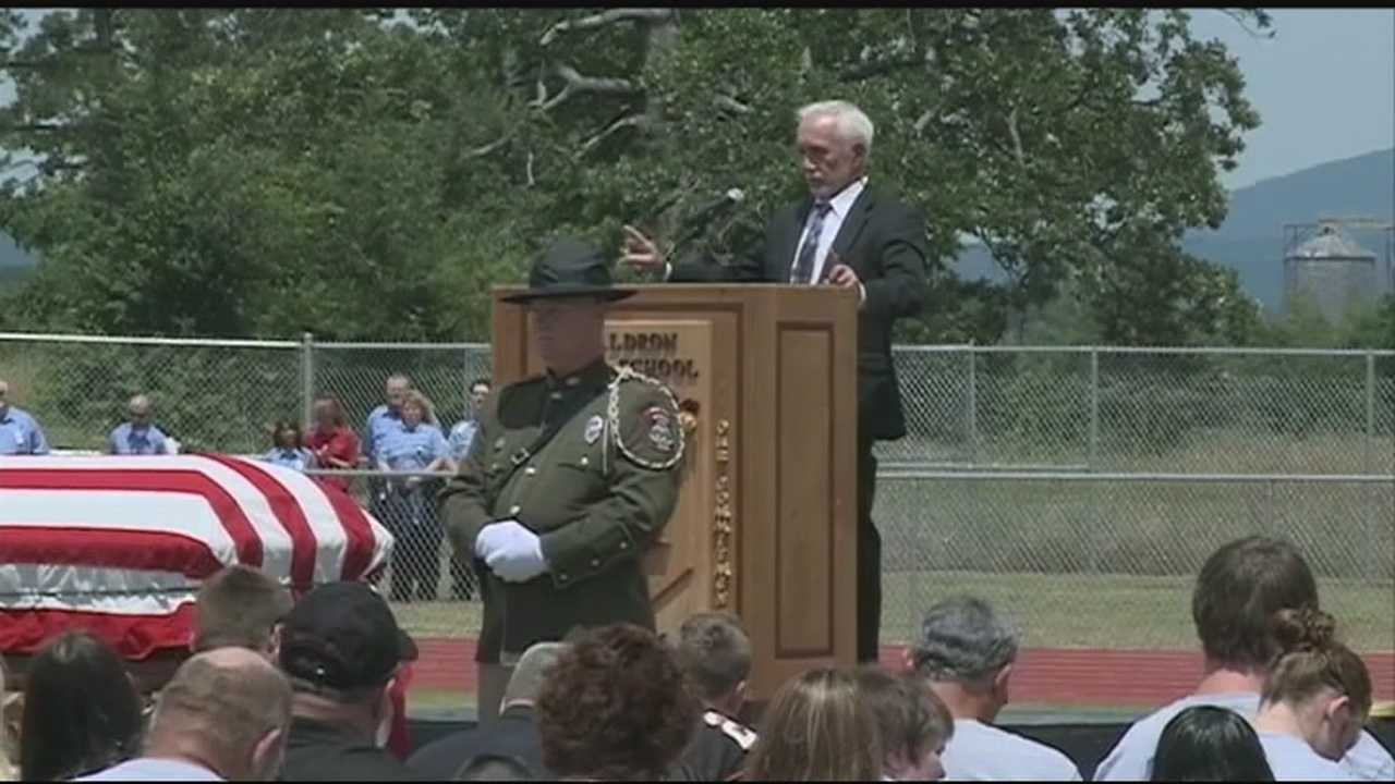 Hundreds gathered at the Waldron High School football field to remember the life and service of Scott County Sheriff Cody Carpenter.