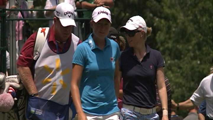 Stacy Lewis walks from the first tee at the LPGA Walmart Northwest Arkansas Championship