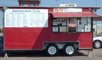 """Snow to Go also know as The Red Caboose is located at 7320 Rogers Avenue in Fort Smith. the """"Razorback"""" snow cone is a delicious popular choice!"""