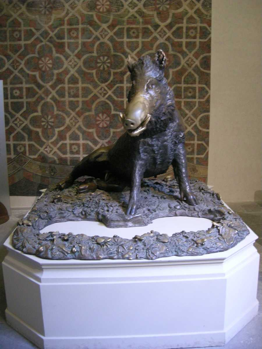 The most famous 'Il porcellino' site in Florence, Italy. It is the inspiration for many of the hogs in this slideshow.