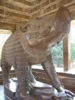 This boar is in Khajuraho, India. It represents the avatar of the Hindu god Vishnu.