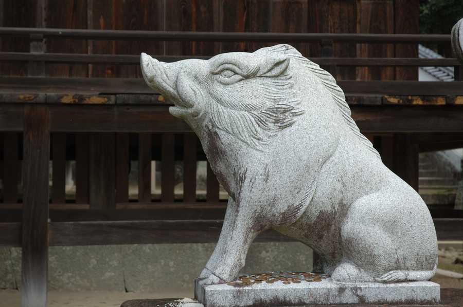This guardian boar sits in Okayama, Japan.