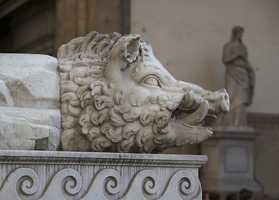 This boar's head sits in the Piazza della Signoria in Florence, Italy.