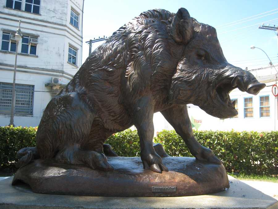 This cast metal razorback was made in France, but sits in a square in Alagoas, Brazil.