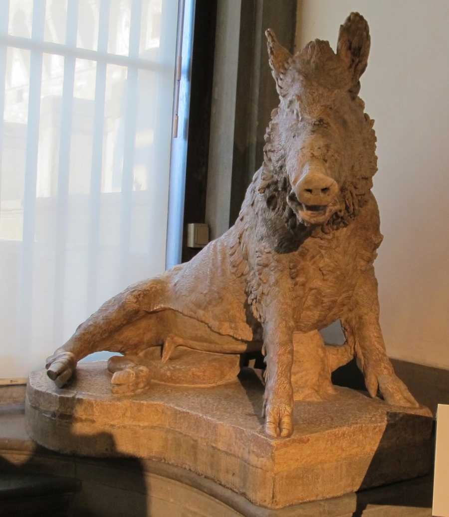This razorback sits in the Uffizi Gallery in Florence.