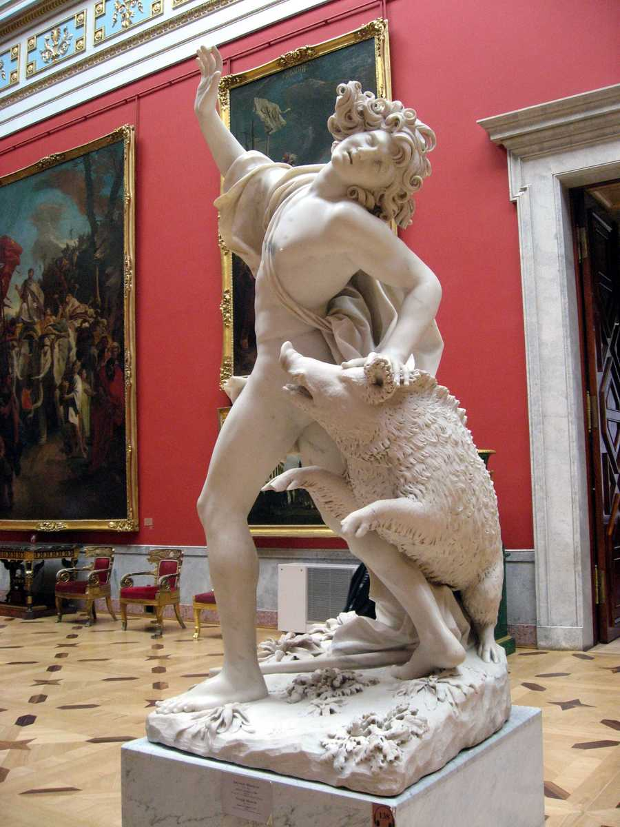 This statue in the State Hermitage in St. Petersburg, Russia, depicts the death of the Greek god Adonis.