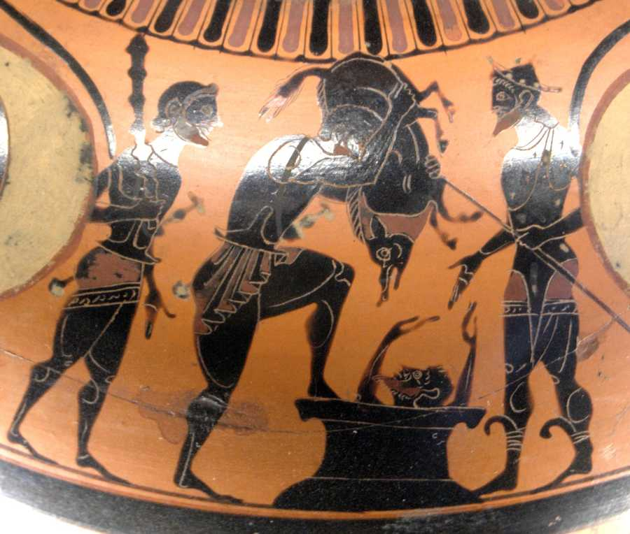 This piece of pottery depicts Hercules and the boar at 525 B.C.