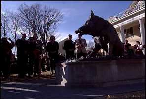This statue is called 'Il porcellino.' It's one of several razorback statues at the University of Arkansas campus in Fayetteville, and one of hundreds across the world.