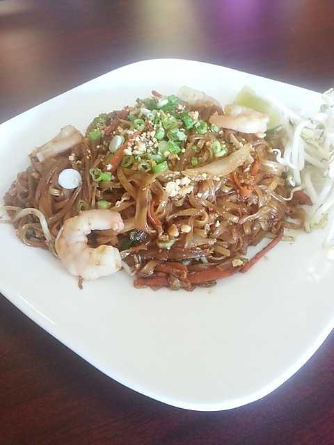 Thai Cafe in Siloam Springs. This dish is Brown Pad Thai! Very popular around lunch time.