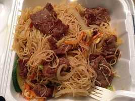 Mandarin Bistro Chinese and Thai Restaurant in Springdale. This dish is the Vegetable Singapore Noodles!