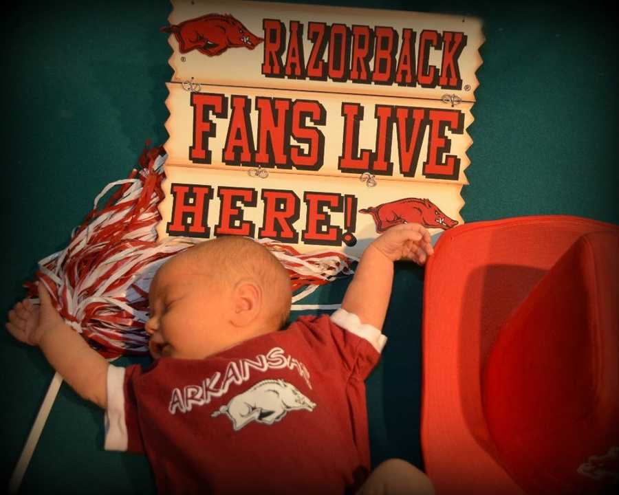 Baby Hog Fan! I'm raising my baby daughter Taylor to be a Hog fan. See, I've got her doing the hog call at 2 weeks old!