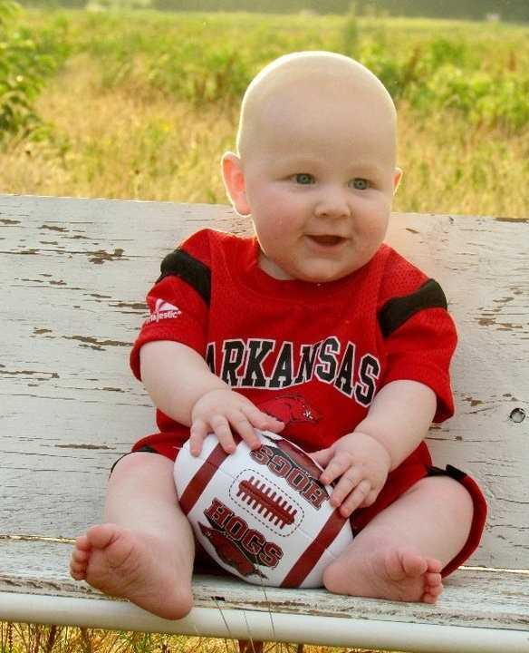 Ready for his 1st Razorback game!