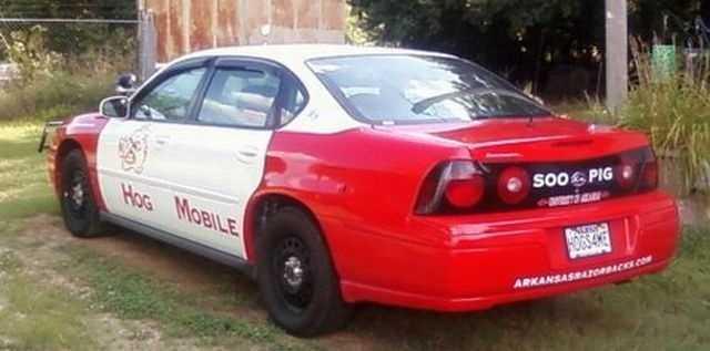 Hog Mobile, a 2005 Chevy Impala Police Interceptor turned in to a Razorback fan car.