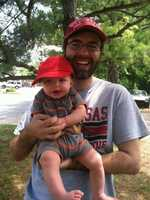 40/29 Producer Adam Roberts and his little hog fan Alexander.