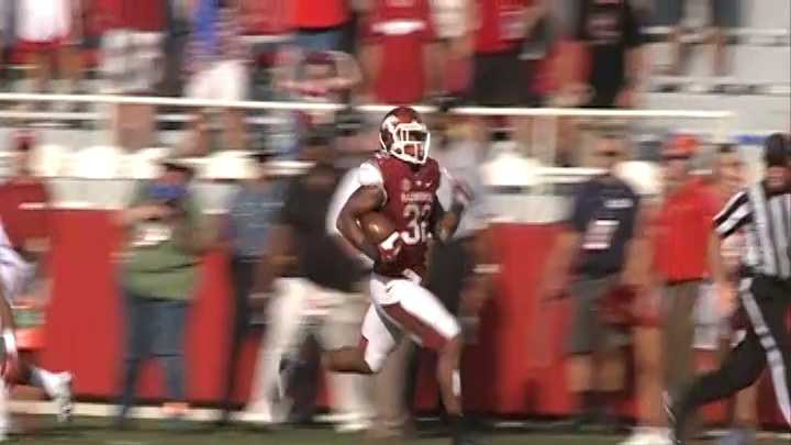 Sophomore running back Jonathan Williams runs for a 75-yard touchdown against Louisiana-Lafayette at Razorback Stadium.