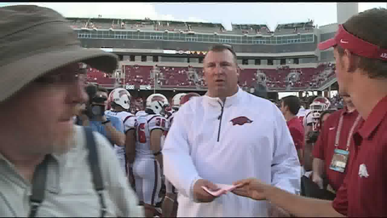 Head coach Bret Bielema calls Saturday's win a victory in more ways than one.