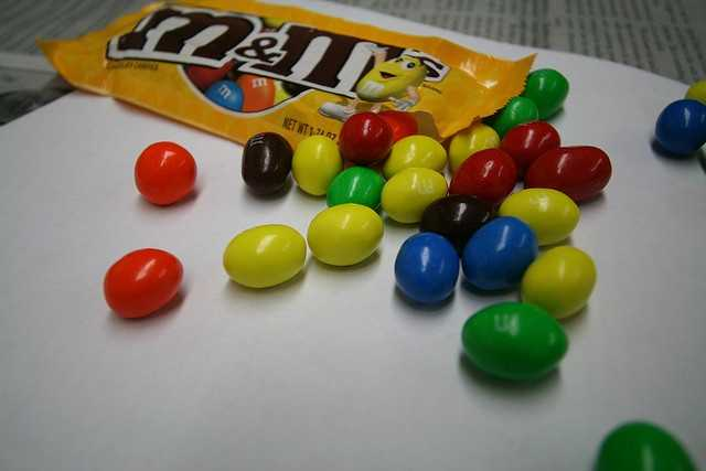 Peanut M&M'S, which were only in brown, were developed in 1954