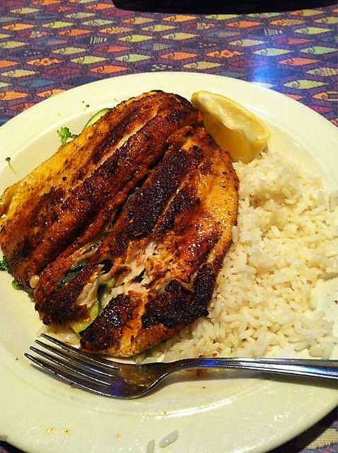 Some of you said you like to start your mornings with seafood. This is some blackened rainbow trout at Fish City Grill in Rogers.