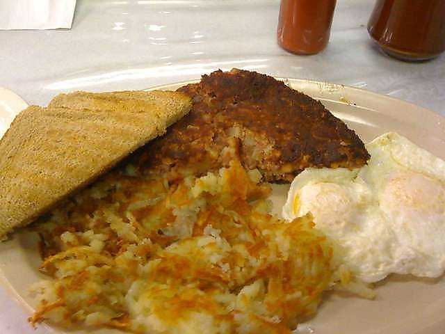 Corned beef hash is on the breakfast menu at Rick's Iron Skillet in Fayetteville.