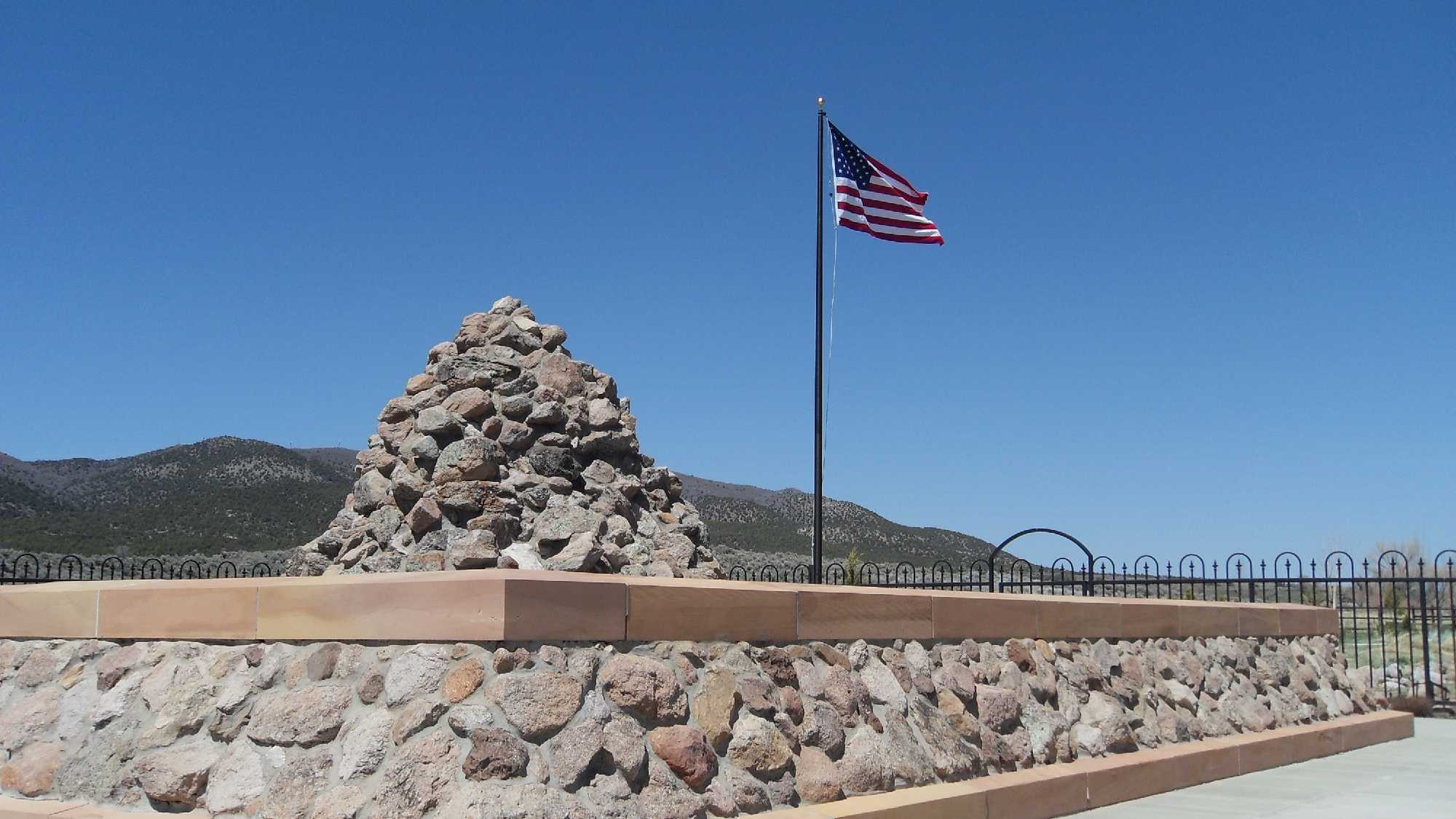A view of the 1999 Monument and cairn replica in Mountain Meadows, Utah.