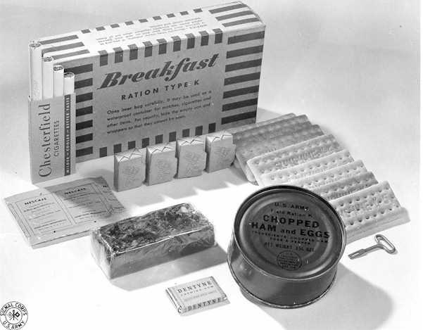 Kellogg packaged K-rations for the U.S. military during World War II.
