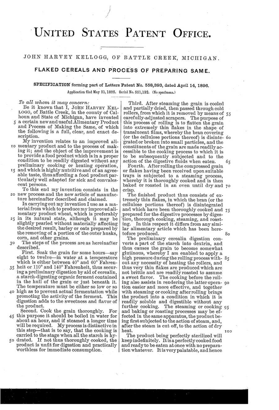 The patent for Kellogg's corn flakes was issued on April 14, 1896.