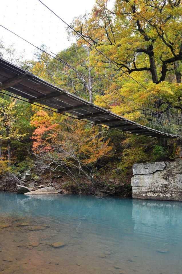 This swinging bridge crosses the Mulberry River.