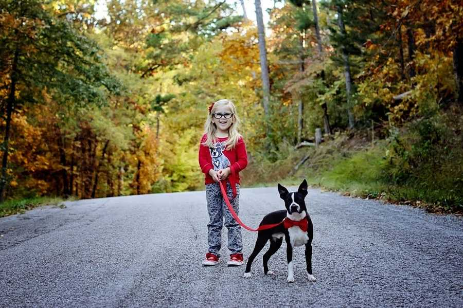 "This is Molly (5) on a walk with her puppy, Jack, on his first birthday.  She's wearing her favorite ""Jack Shirt"" and he's wearing his bow tie to celebrate the day."